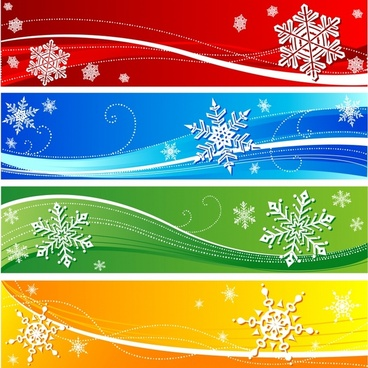 christmas banners templates colorful elegant snowflakes decor