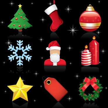 christmas design elements shiny colorful emblems