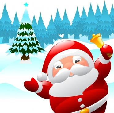 christmas background cute santa icon decor cartoon design