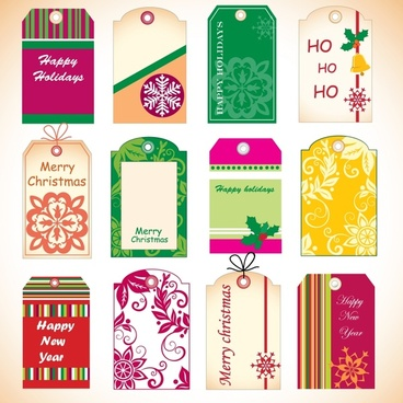christmas tags templates colorful classical flat decor