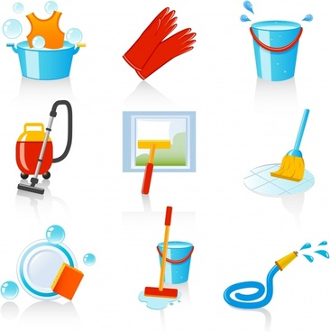 cleaning work design elements colorful tools icons
