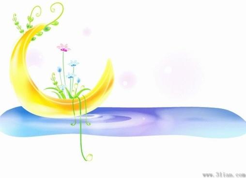 decorative background crescent icon flowers water decor