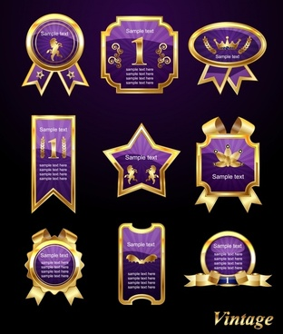 premier label templates shiny modern luxury golden violet