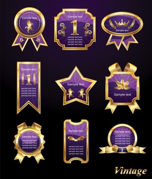 exquisite europeanstyle badge labels 02 vector