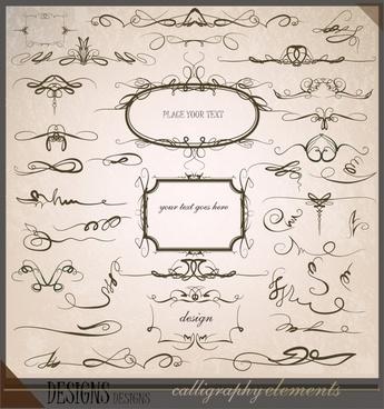 document decorative elements symmetrical curves retro design