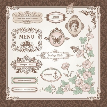 exquisite europeanstyle pattern label 01 vector