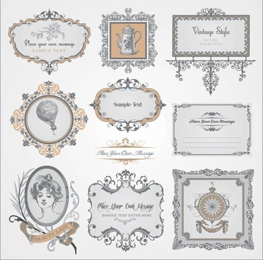 exquisite europeanstyle pattern label 03 vector