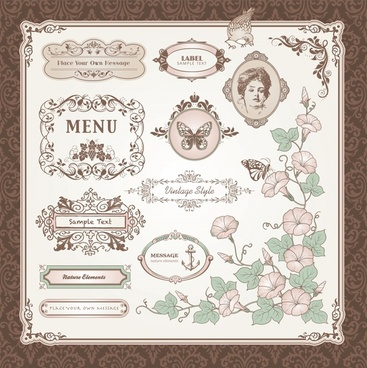 exquisite europeanstyle pattern vector labels