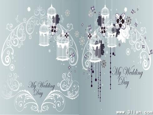 wedding background elegant curved floral bird cage decor