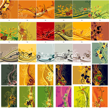 exquisite floral background set art