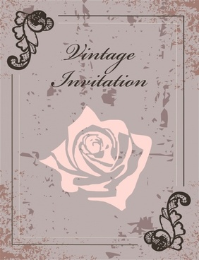 invitation card cover template rusty grunge petal decor