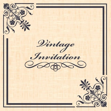 invitation card template elegant vintage symmetric decor