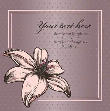 lily card background elegant classic petal sketch