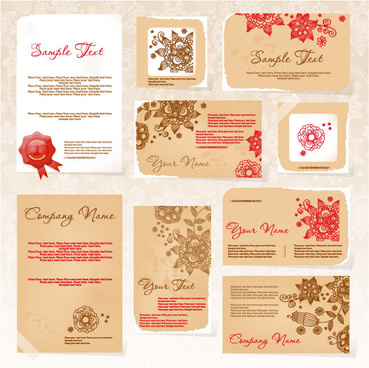 exquisite floral card template vector
