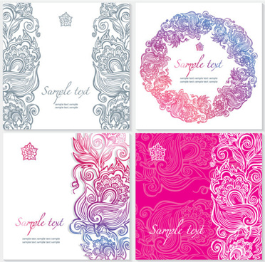 exquisite floral cards elements vector