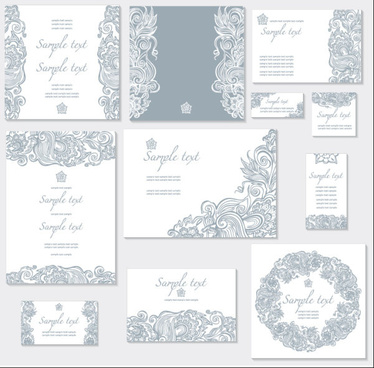 exquisite floral cards elements vector