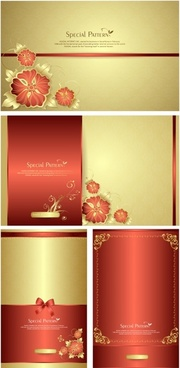 exquisite floral greeting cards vector