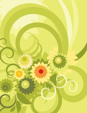 flowers background curves ornament classical green design
