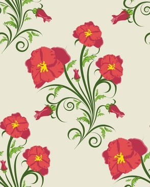 floral pattern elegant colorful flat decor