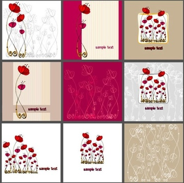 card templates collection classical handdrawn flora sketch