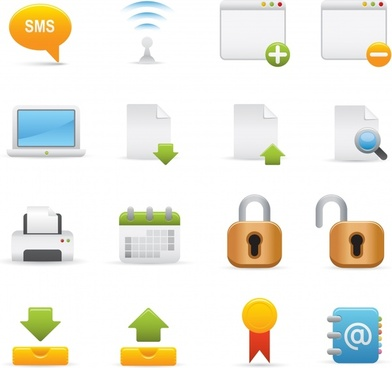 digital icons collection bright colored flat modern symbols