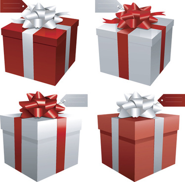 exquisite gift boxes design elements vector