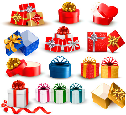 exquisite gift boxes with ribbon vector set