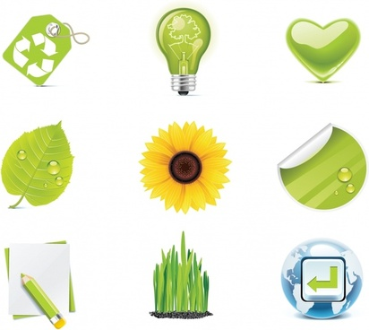 ecology icons shiny modern colored symbols sketch