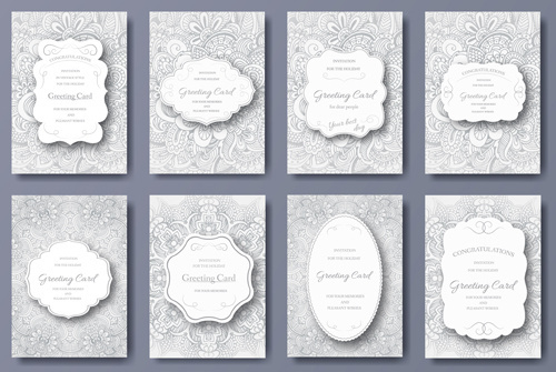 exquisite greeting card design elements vector
