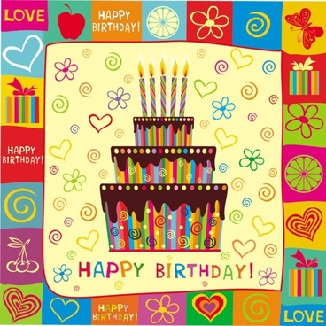 exquisite handpainted elements birthday 01 vector