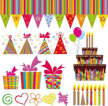 exquisite handpainted elements birthday 04 vector