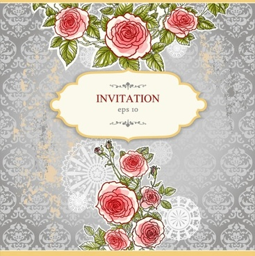 exquisite handpainted floral background 04 vector