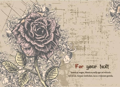 exquisite handpainted flowers postcards 02 vector