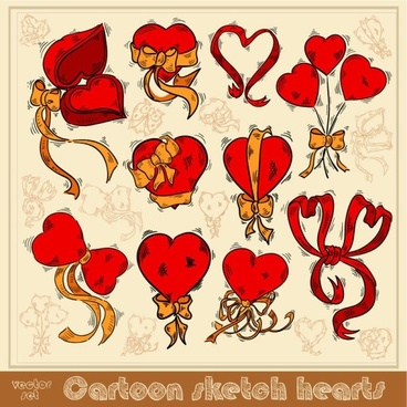 exquisite handpainted red heart 01 vector