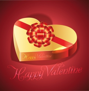 exquisite heartshaped gift box valentine background vector