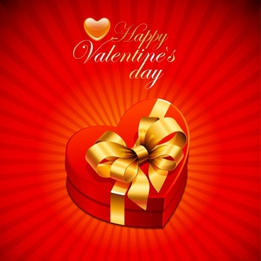 valentine background heart present box shiny 3d decor