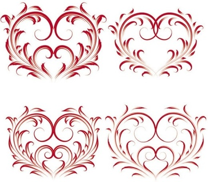 heartshaped icons red symmetric curves sketch