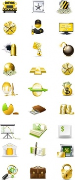 banking icons collection wealth safe security finance symbols