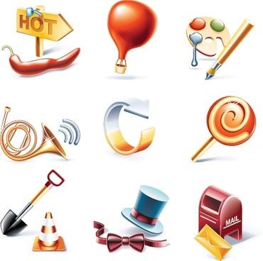 decorative icons shiny modern 3d symbols sketch