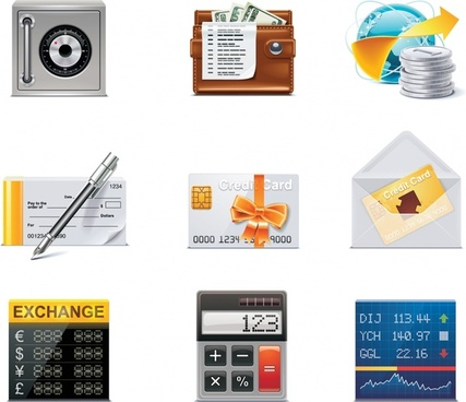 finance icons colorful modern symbols sketch