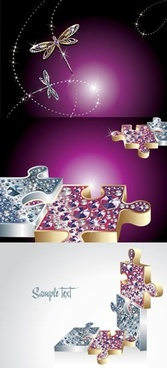 gems advertising backgrounds dragonfly puzzles decor 3d design