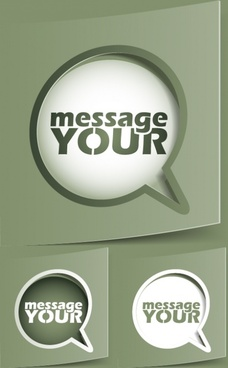 speech bubble label template modern 3d paper cut