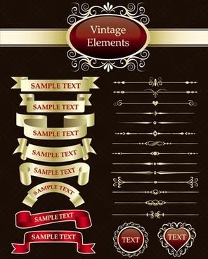 document decoration design elements shiny colored vintage design