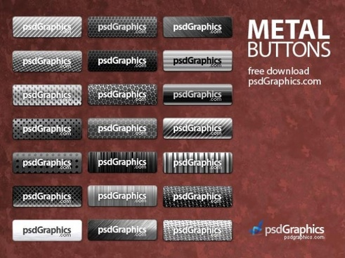 exquisite metal button psd layered