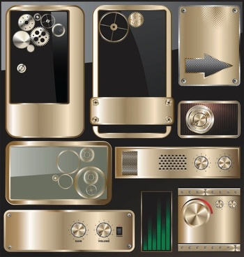 exquisite metal icon 01 vector