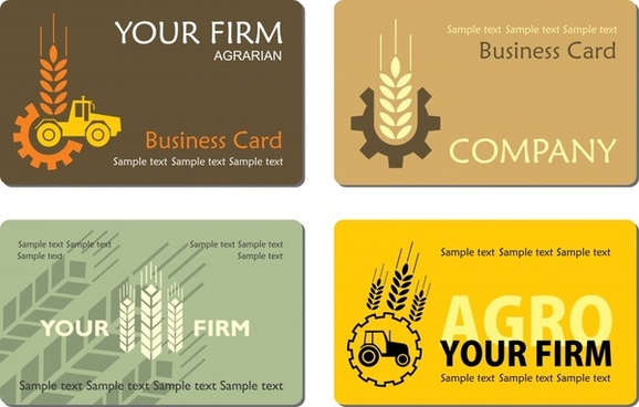 business card templates agricultural elements decor flat classic