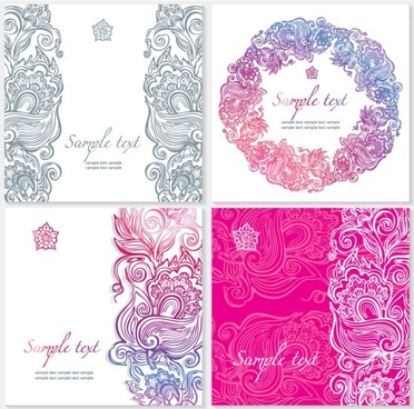exquisite pattern card 02 vector