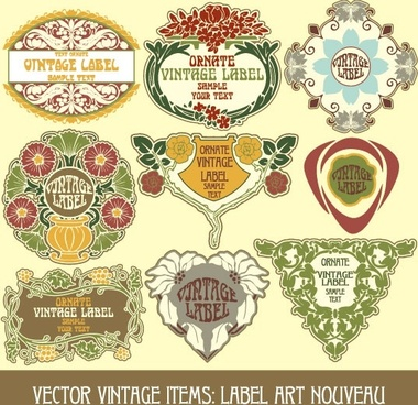 exquisite pattern stickers 01 vector