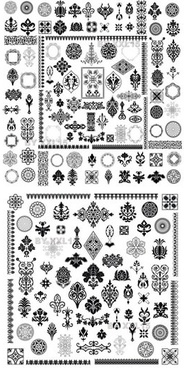 decor elements collection retro symmetric shapes