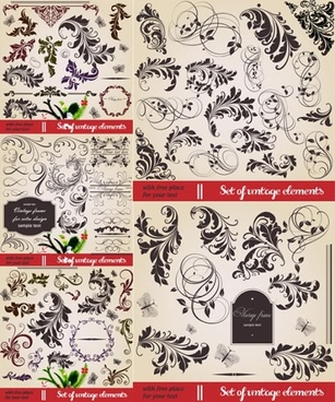 decorative elements collection elegant retro leaf sketch